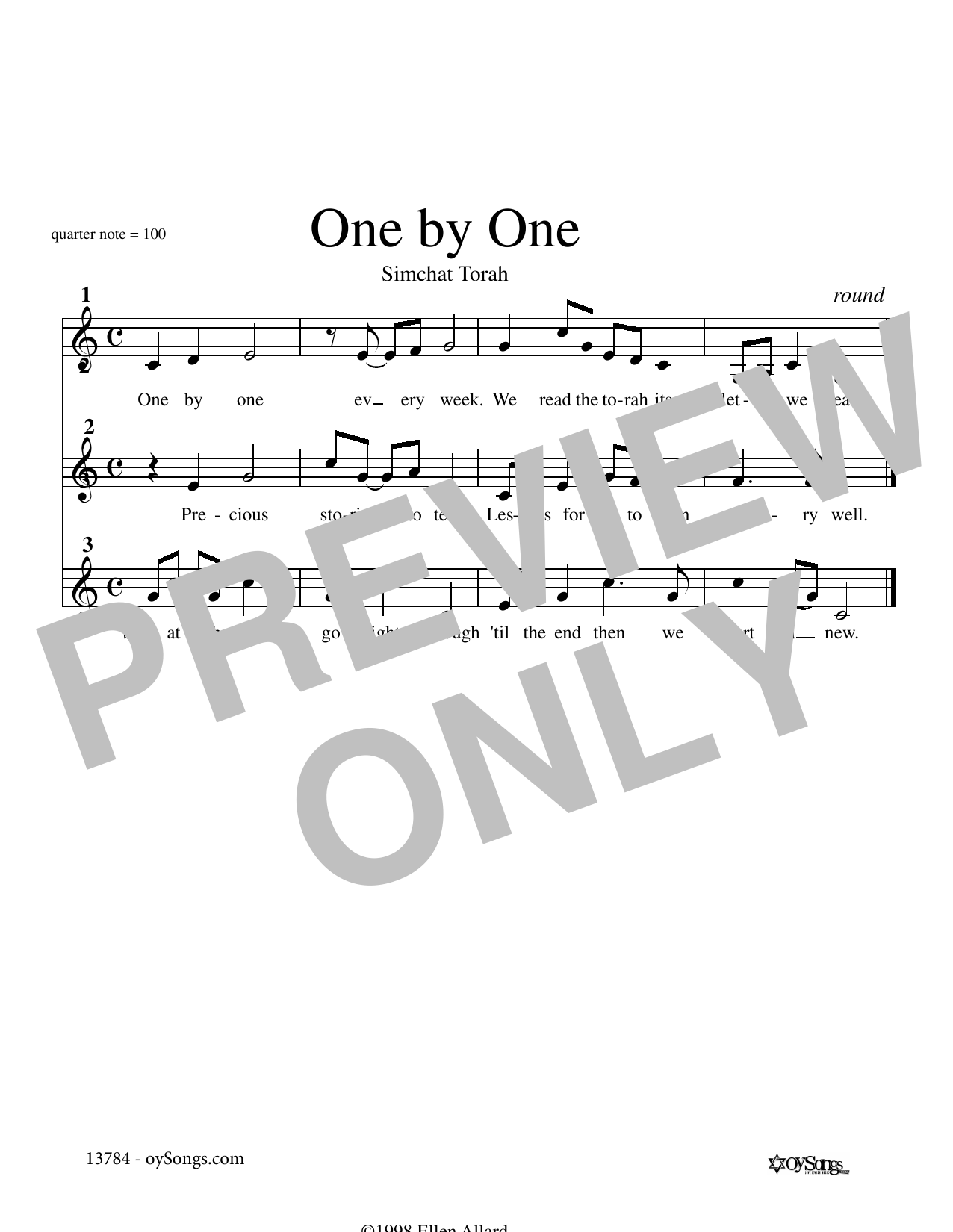 Ellen Allard One by One sheet music notes and chords. Download Printable PDF.