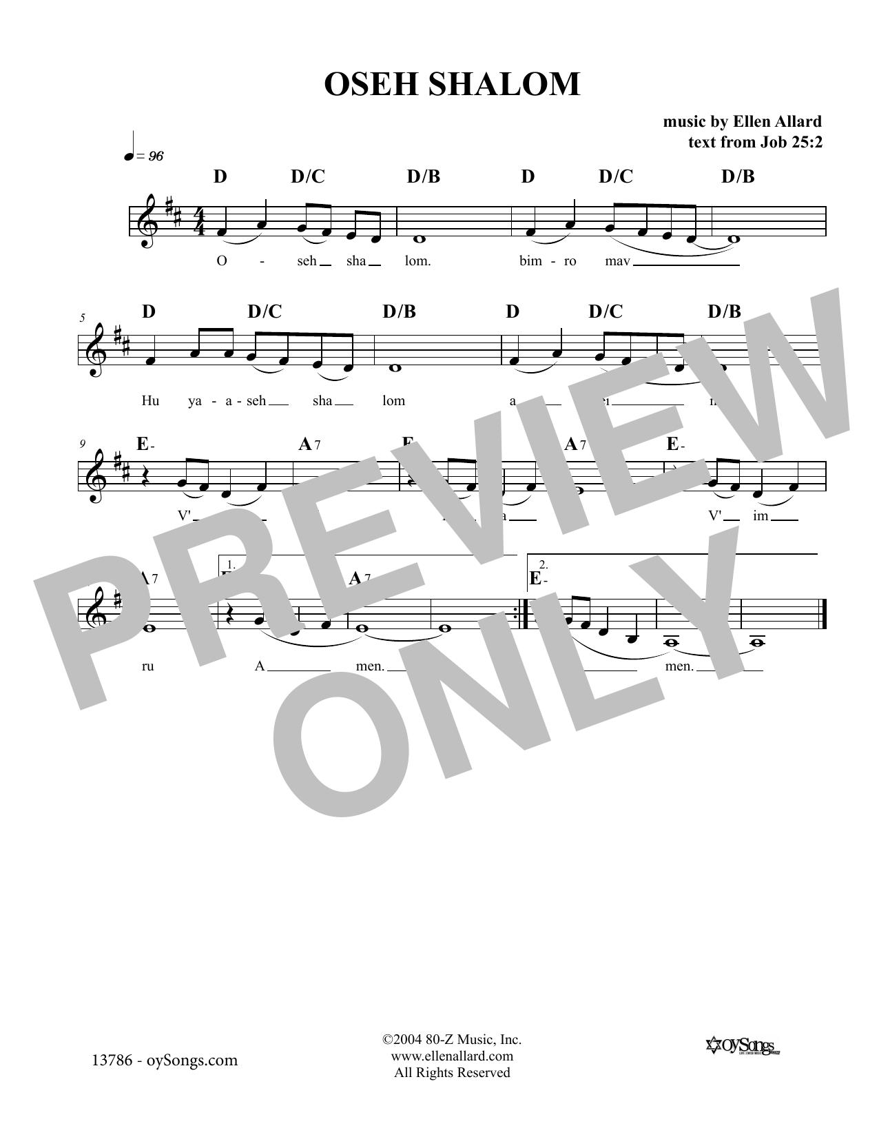 Ellen Allard Oseh Shalom sheet music notes and chords. Download Printable PDF.