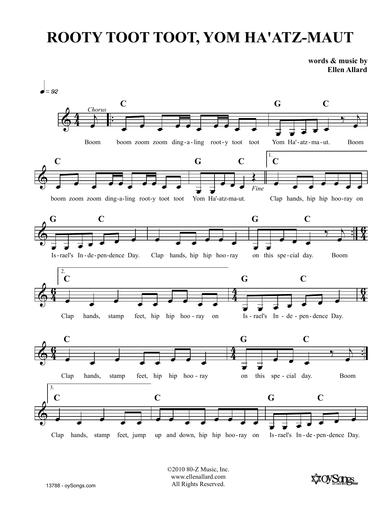 Ellen Allard Rooty Toot Toot Yom Haatzmaut sheet music notes and chords. Download Printable PDF.