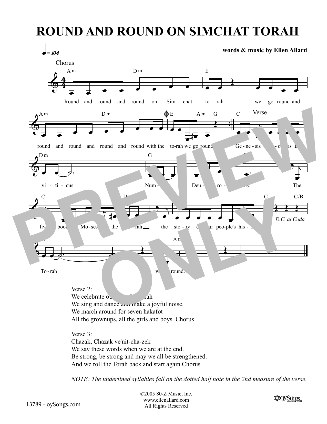 Ellen Allard Round and Round On Simchat Torah sheet music notes and chords. Download Printable PDF.