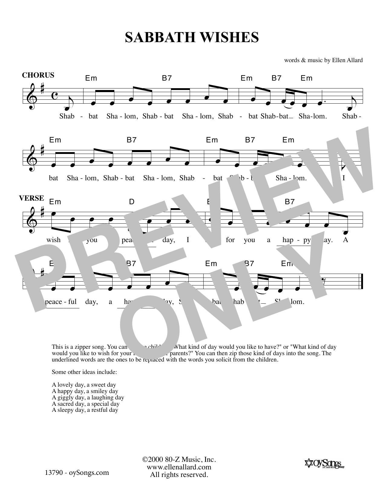 Ellen Allard Sabbath Wishes sheet music notes and chords. Download Printable PDF.