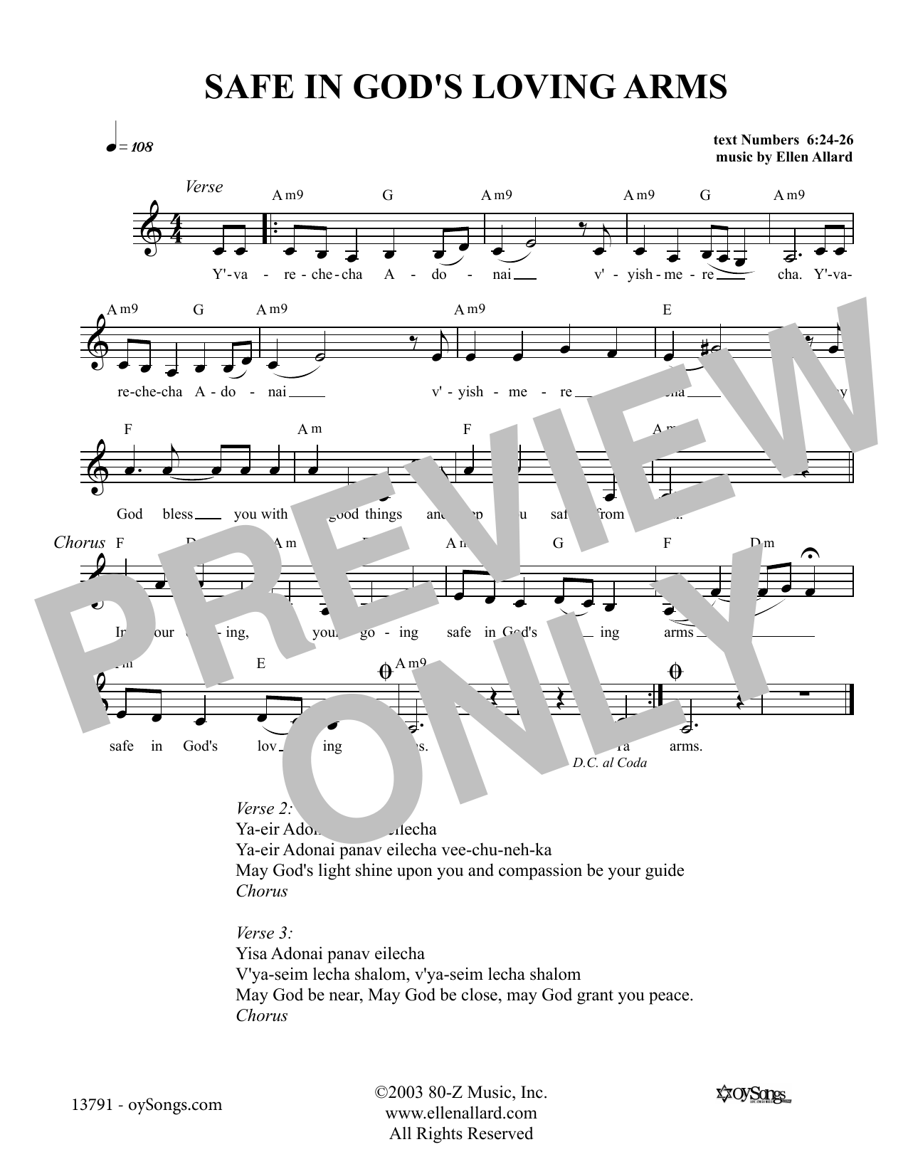 Ellen Allard Safe In God's Loving Arms sheet music notes and chords. Download Printable PDF.