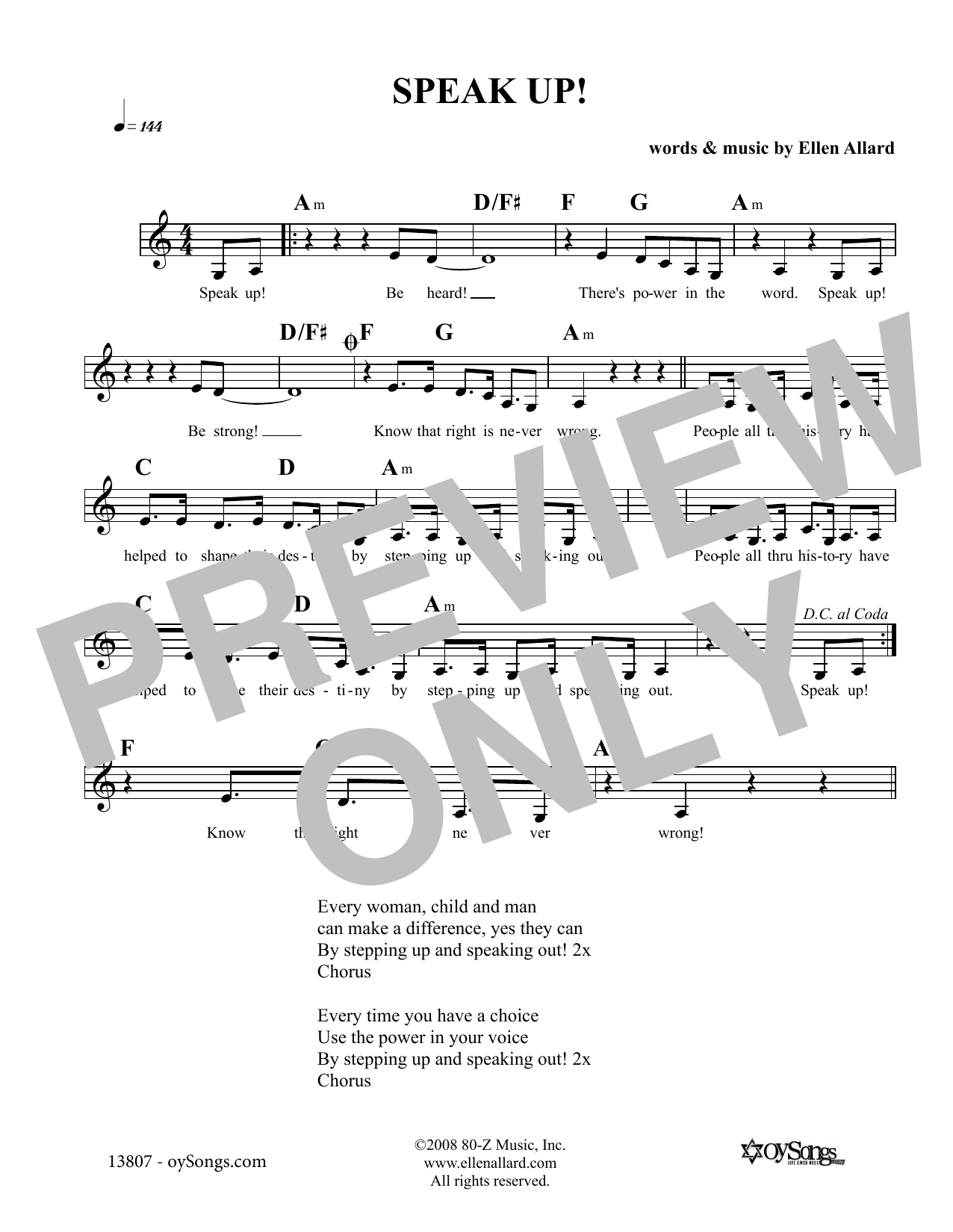Ellen Allard Speak Up sheet music notes and chords. Download Printable PDF.
