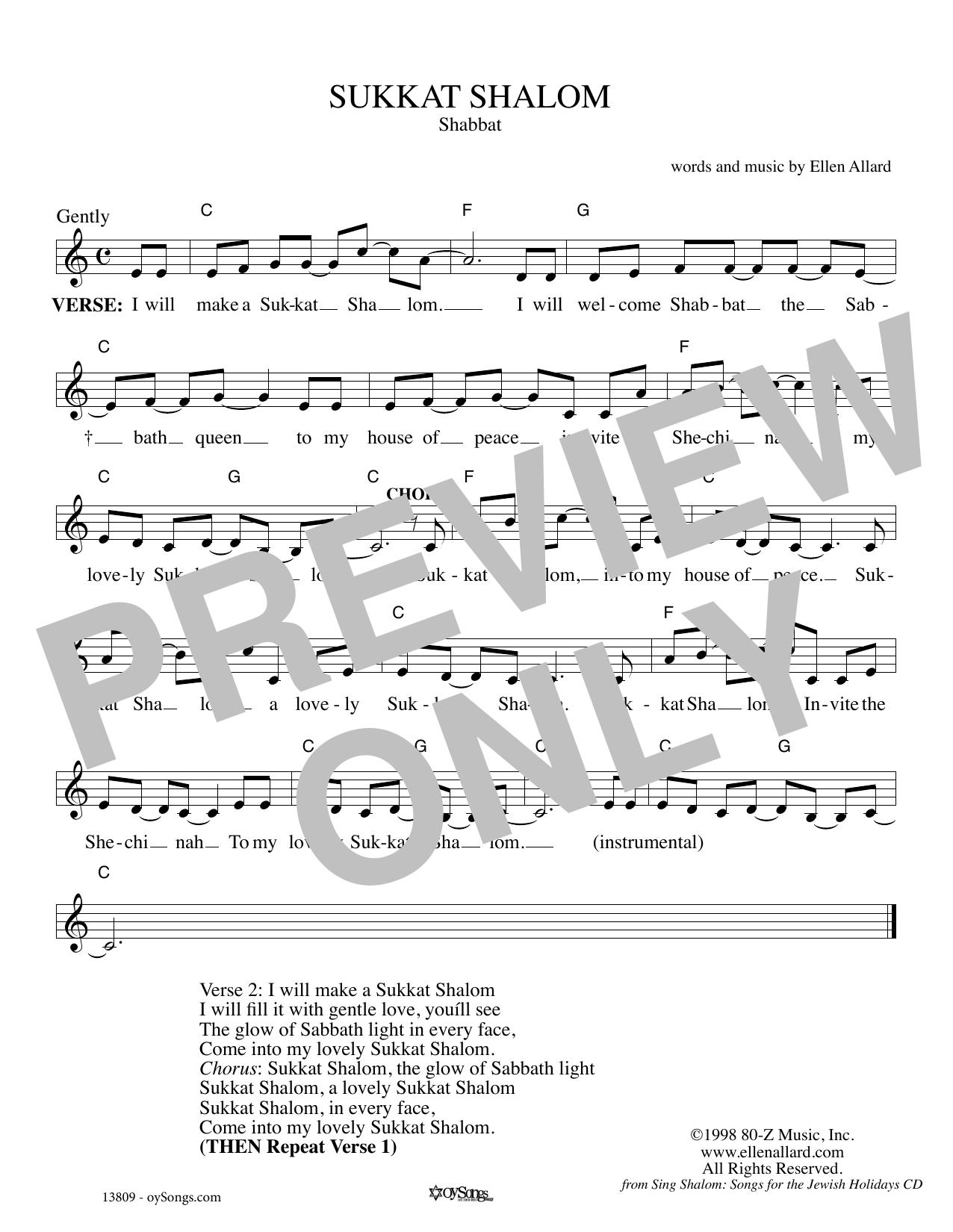 Ellen Allard Sukkat Shalom sheet music notes and chords. Download Printable PDF.