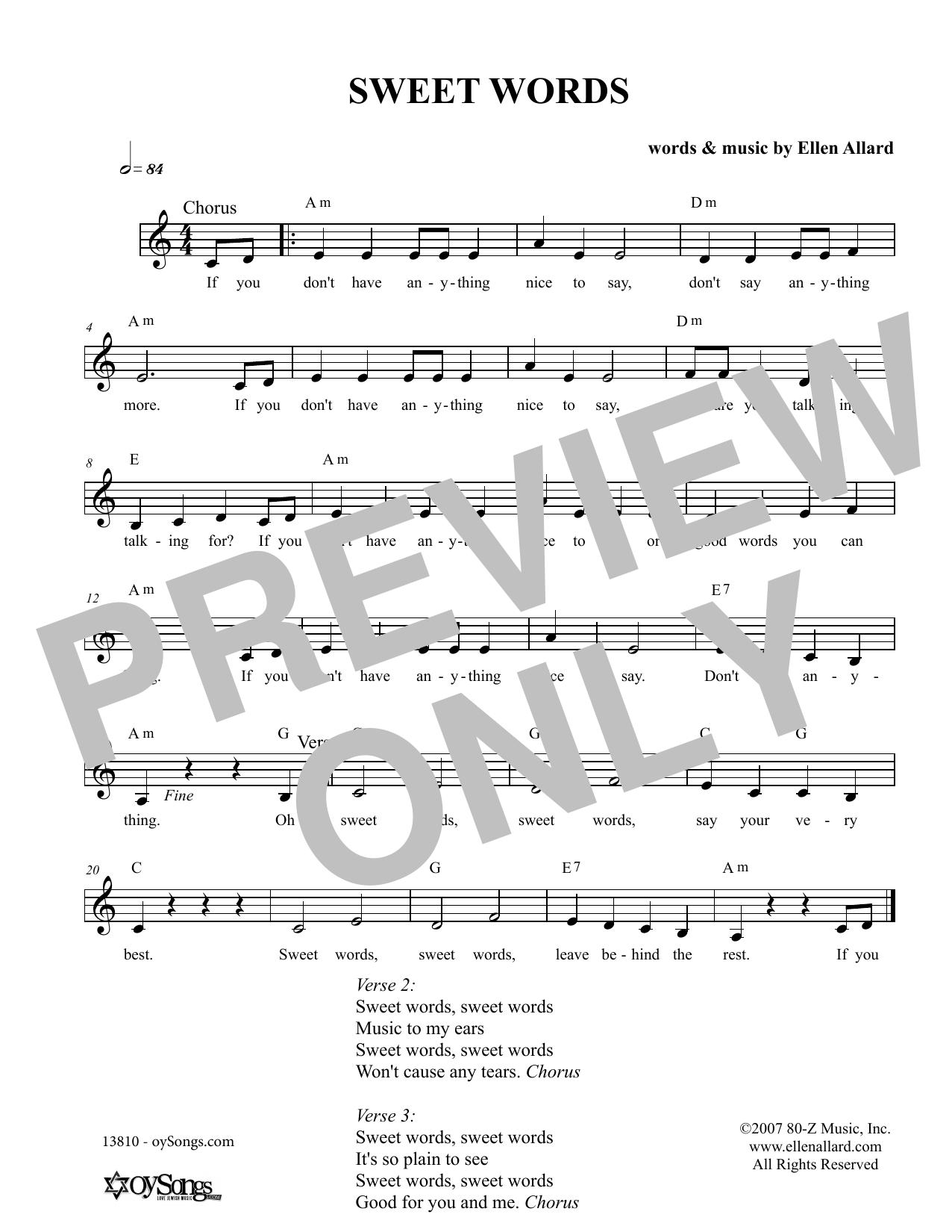 Ellen Allard Sweet Words sheet music notes and chords. Download Printable PDF.
