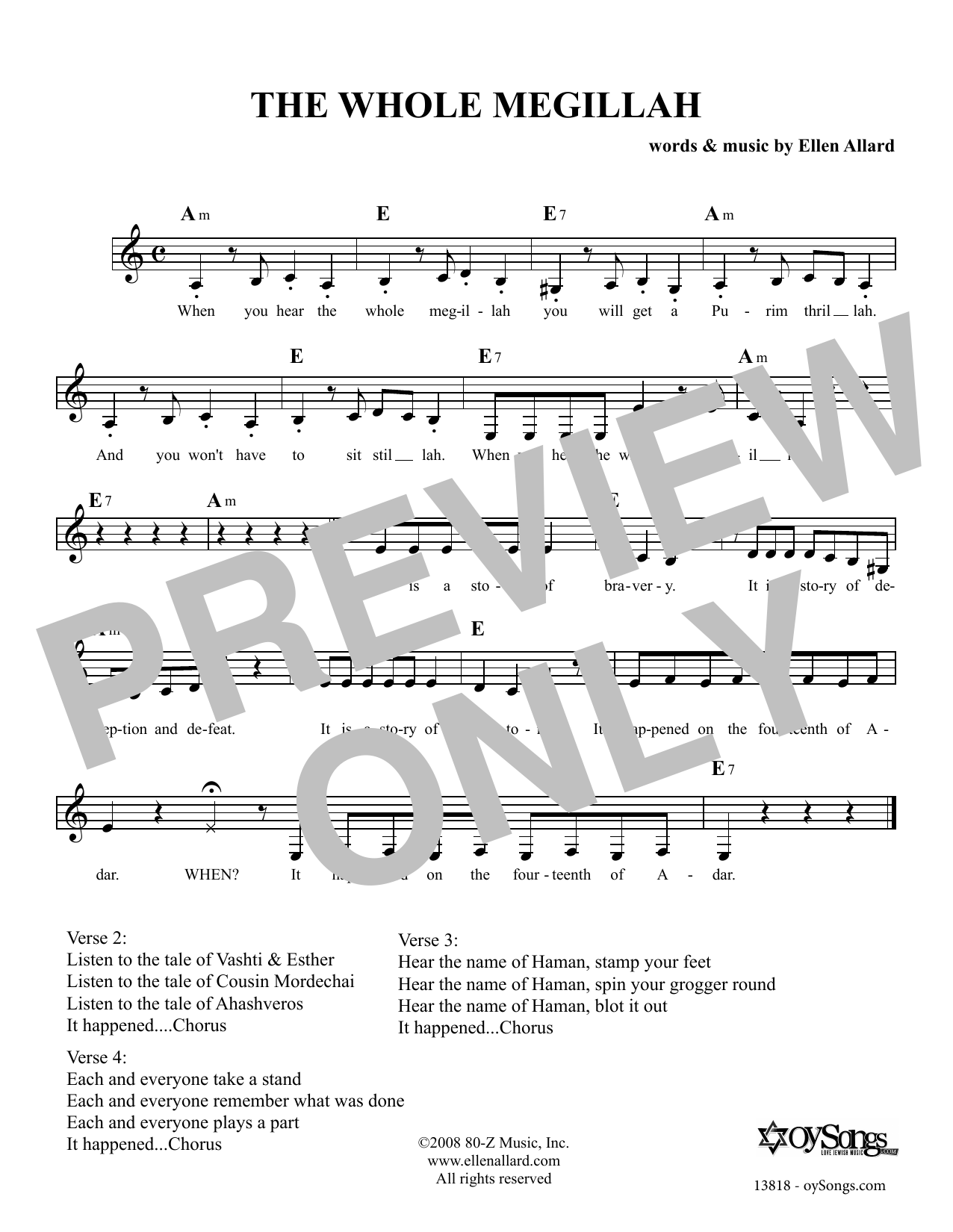 Ellen Allard The Whole Megillah sheet music notes and chords. Download Printable PDF.