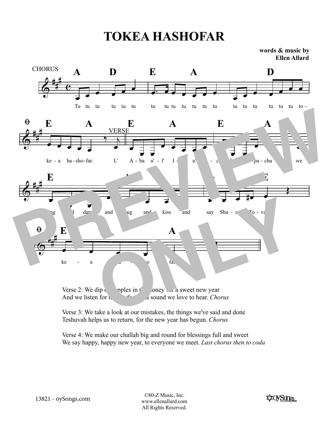 Ellen Allard Tokei'a Hashofar sheet music notes and chords. Download Printable PDF.