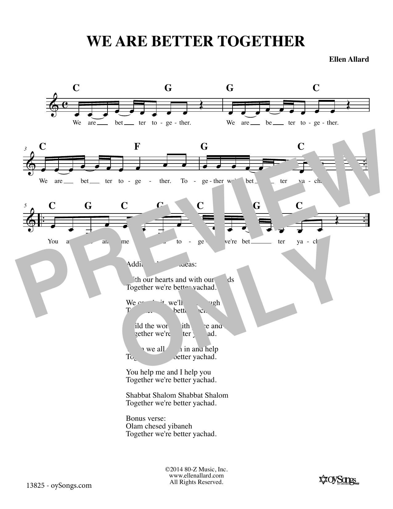 Ellen Allard We Are Better Together sheet music notes and chords. Download Printable PDF.