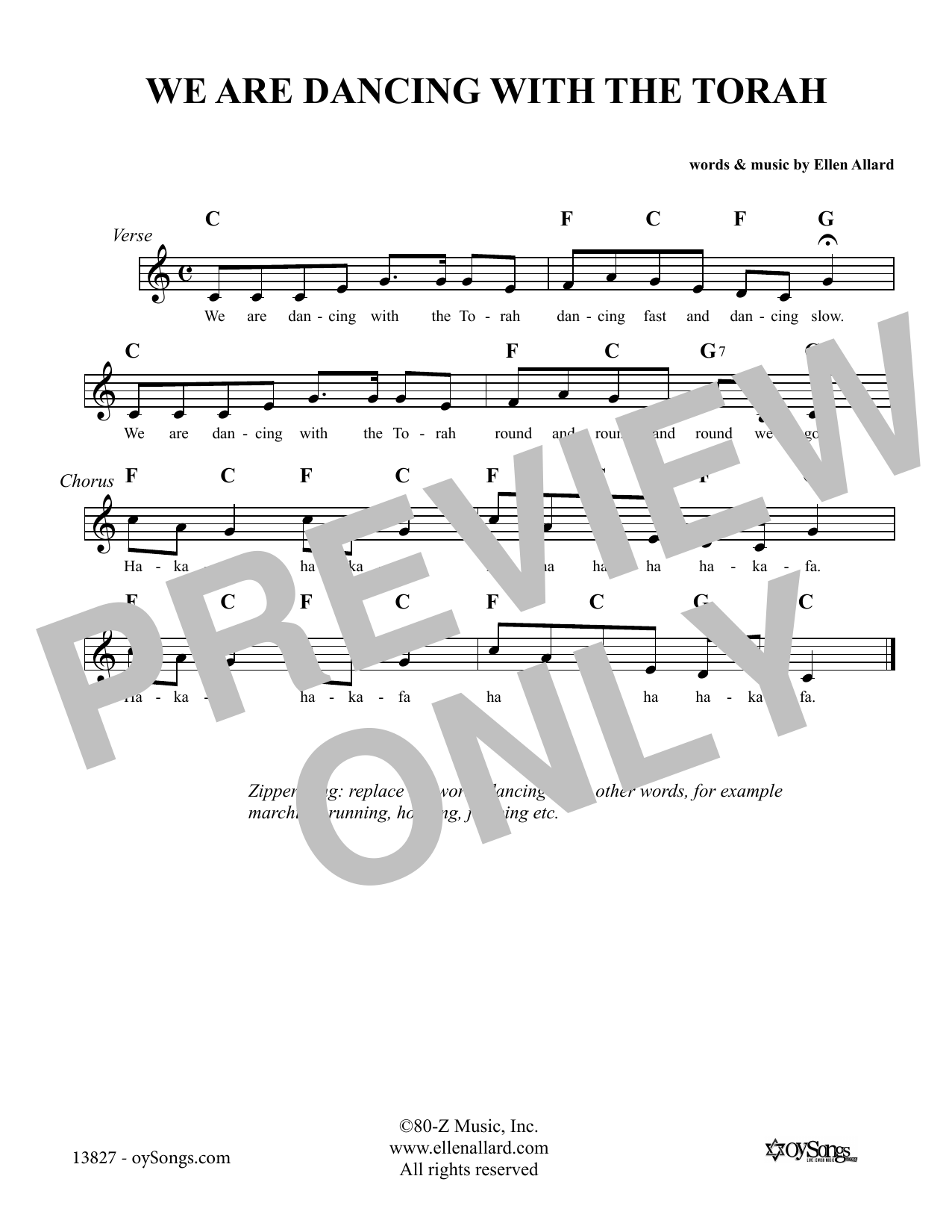 Ellen Allard We Are Dancing With the Torah sheet music notes and chords. Download Printable PDF.