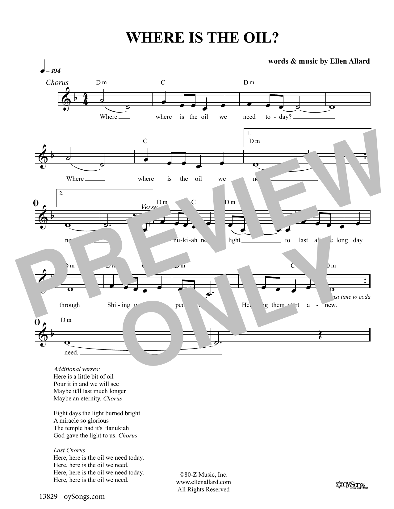 Ellen Allard Where Is The Oil sheet music notes and chords. Download Printable PDF.