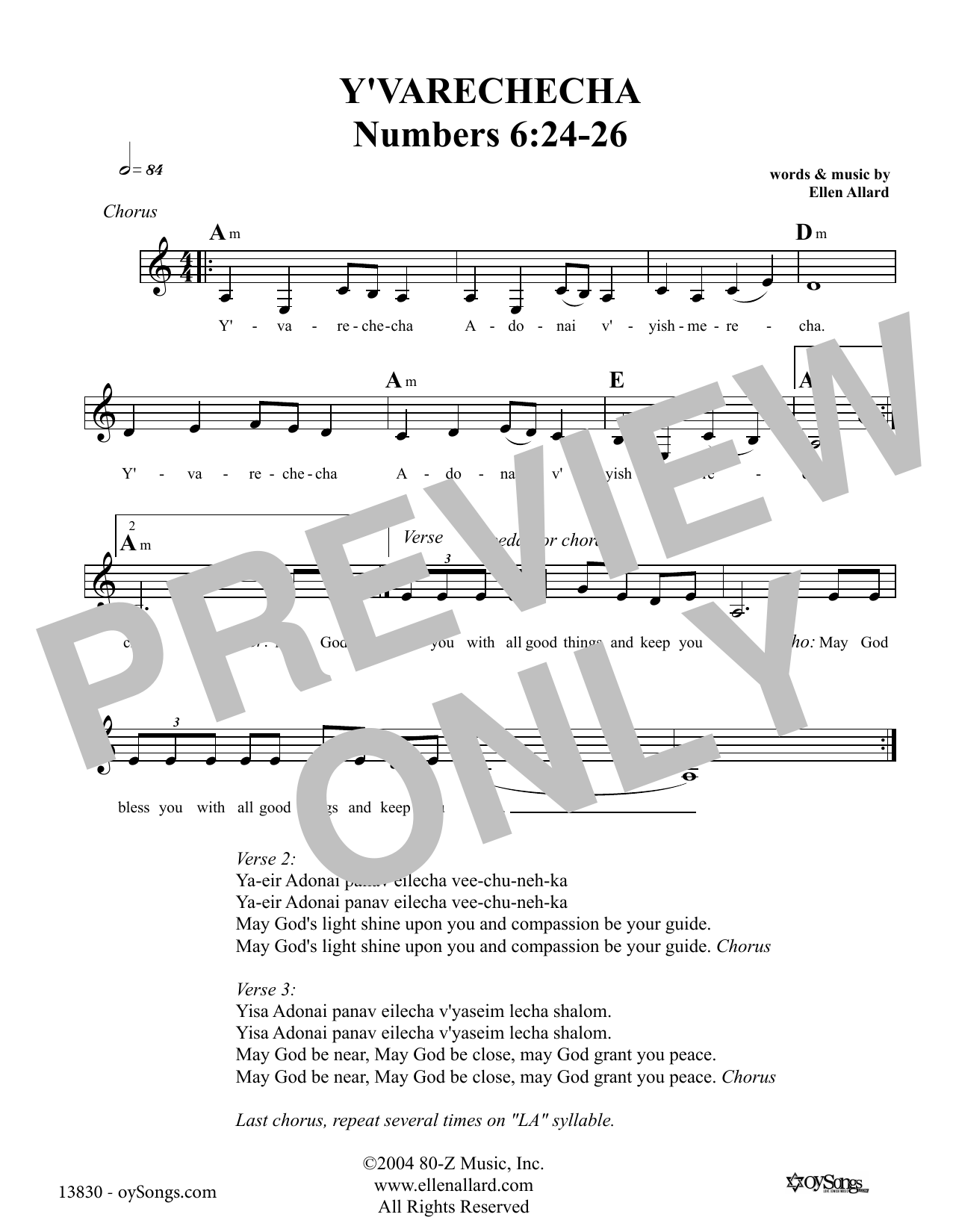 Ellen Allard Y'varechecha May God Bless You sheet music notes and chords. Download Printable PDF.