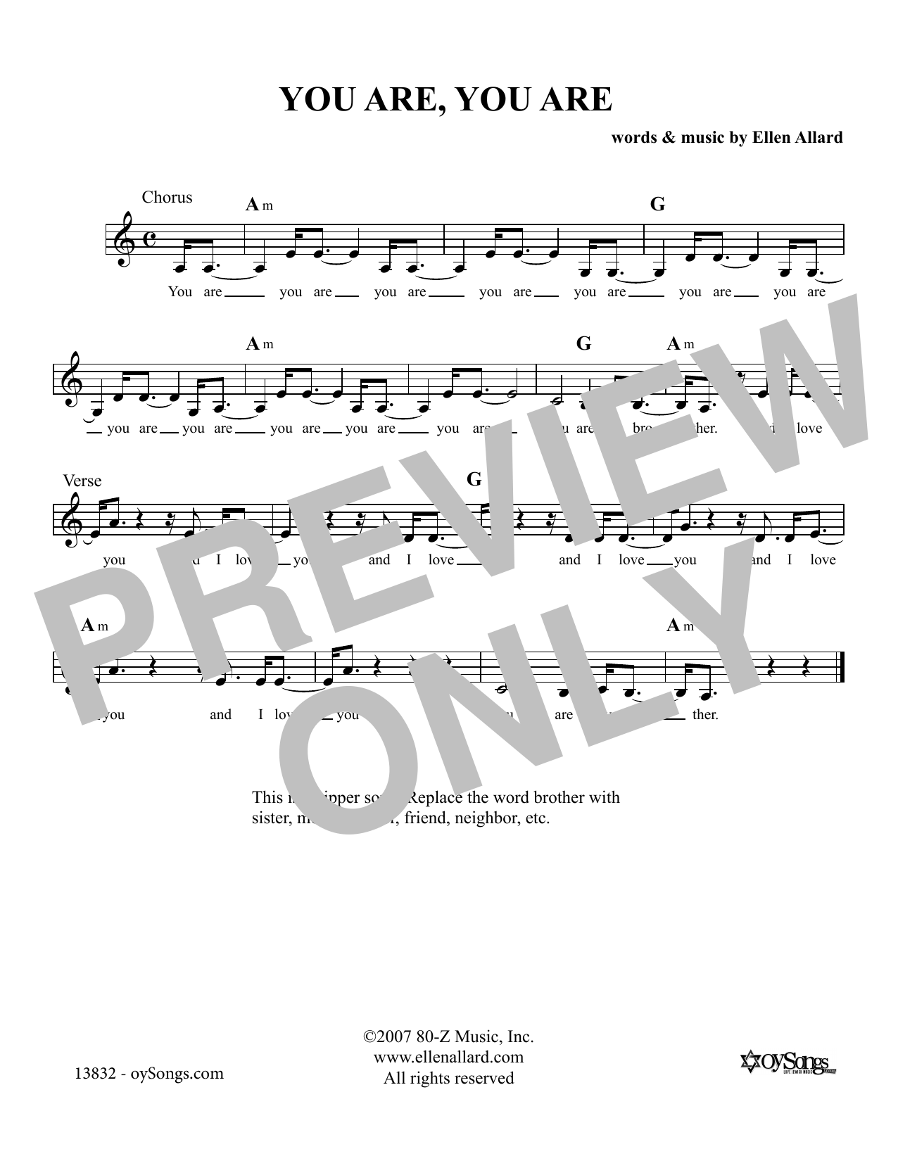 Ellen Allard You Are You Are sheet music notes and chords. Download Printable PDF.