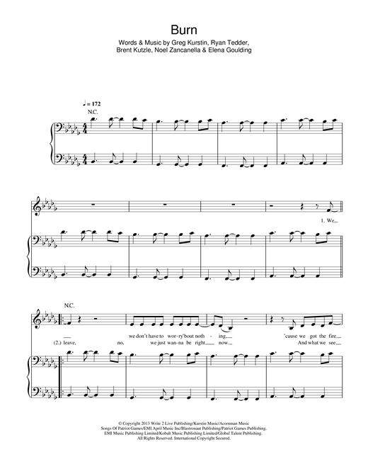 Ellie Goulding Burn sheet music notes and chords. Download Printable PDF.
