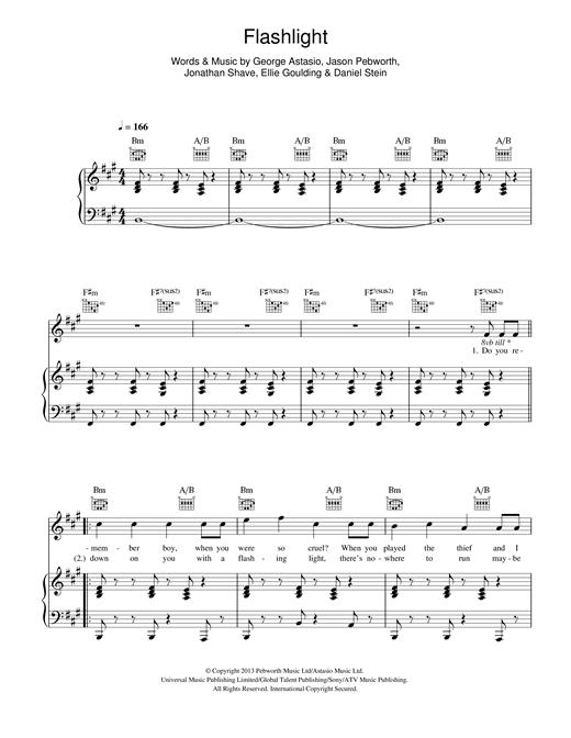 Ellie Goulding Flashlight sheet music notes and chords. Download Printable PDF.