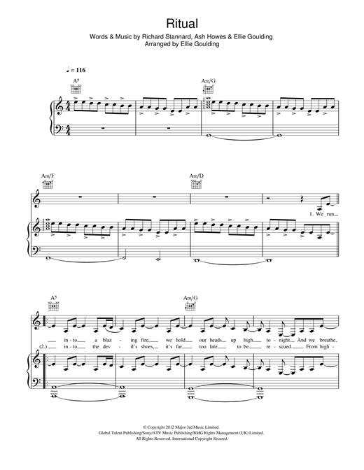 Ellie Goulding Ritual sheet music notes and chords