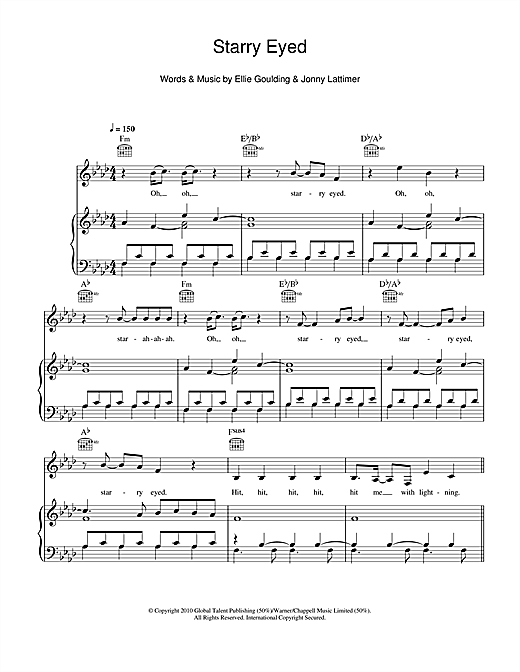Ellie Goulding Starry Eyed sheet music notes and chords. Download Printable PDF.