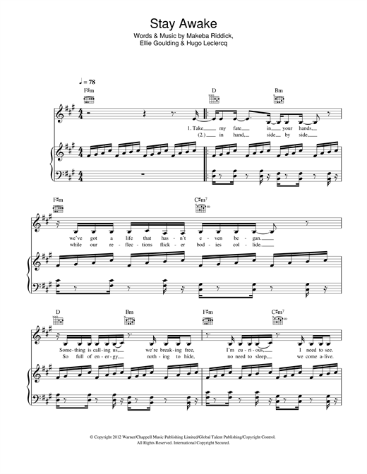 Ellie Goulding Stay Awake sheet music notes and chords. Download Printable PDF.