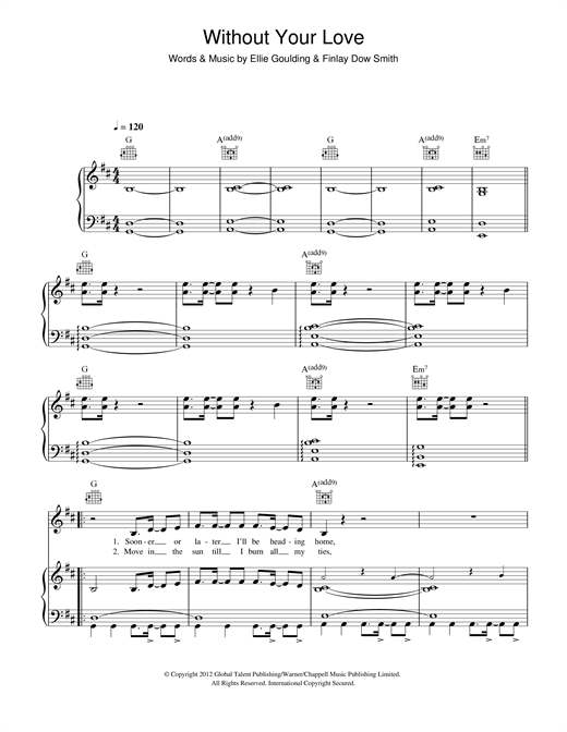 Ellie Goulding Without Your Love sheet music notes and chords