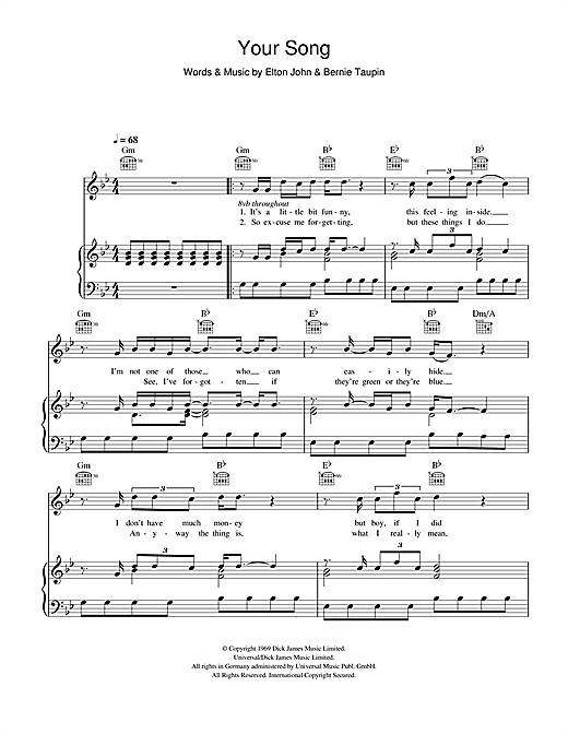 Ellie Goulding Your Song sheet music notes and chords. Download Printable PDF.