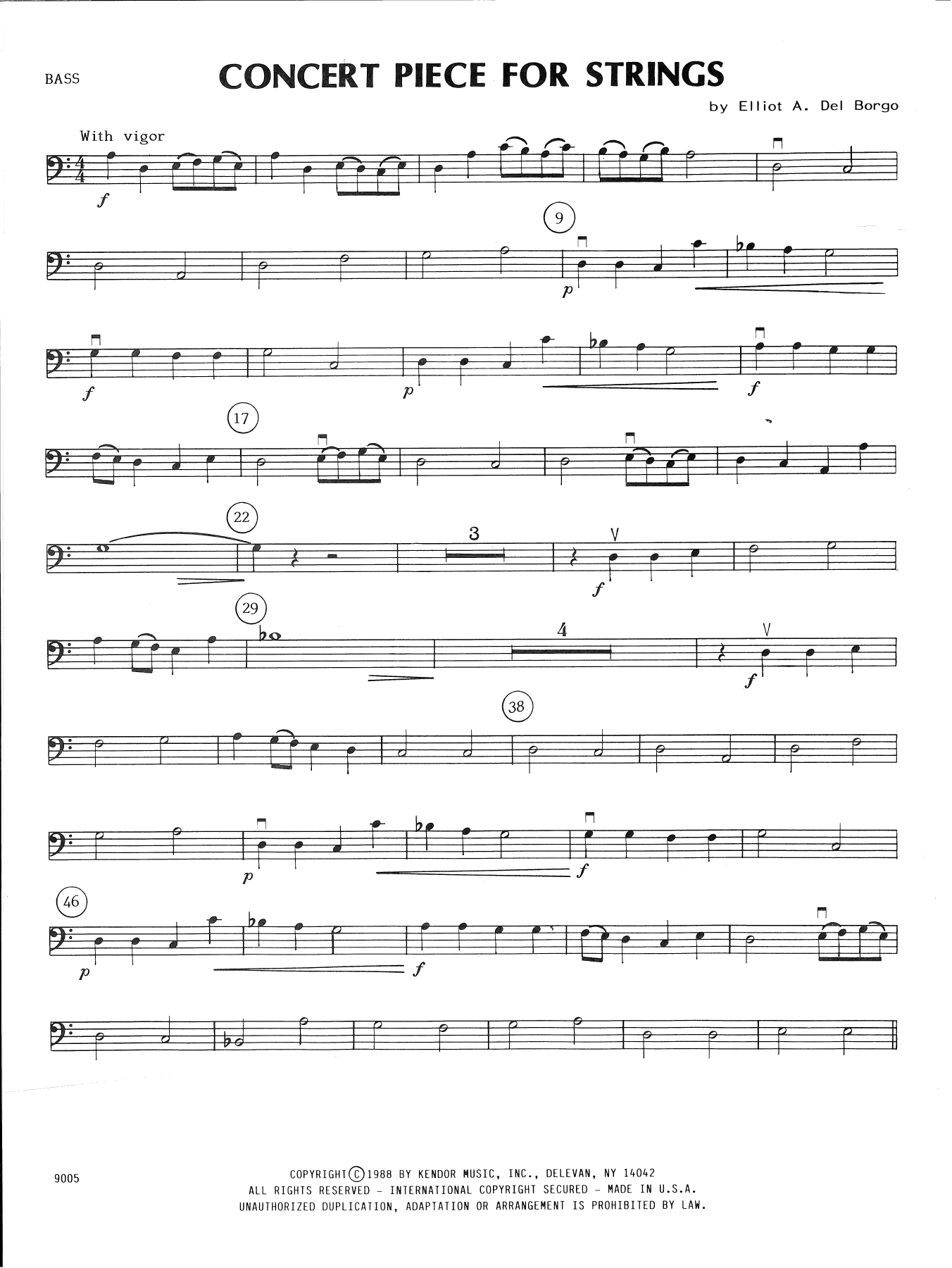 Elliot A. Del Borgo Concert Piece For Strings - Bass sheet music notes and chords. Download Printable PDF.