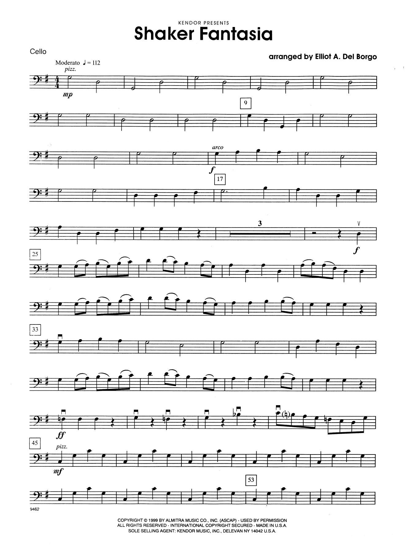 Elliot A. Del Borgo Shaker Fantasia - Cello sheet music notes and chords. Download Printable PDF.