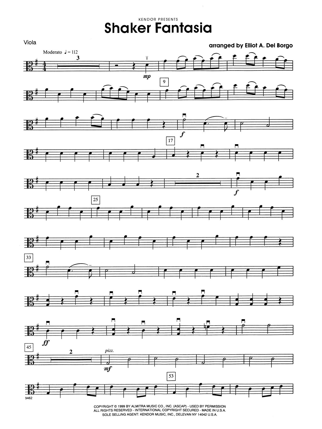 Elliot A. Del Borgo Shaker Fantasia - Viola sheet music notes and chords. Download Printable PDF.