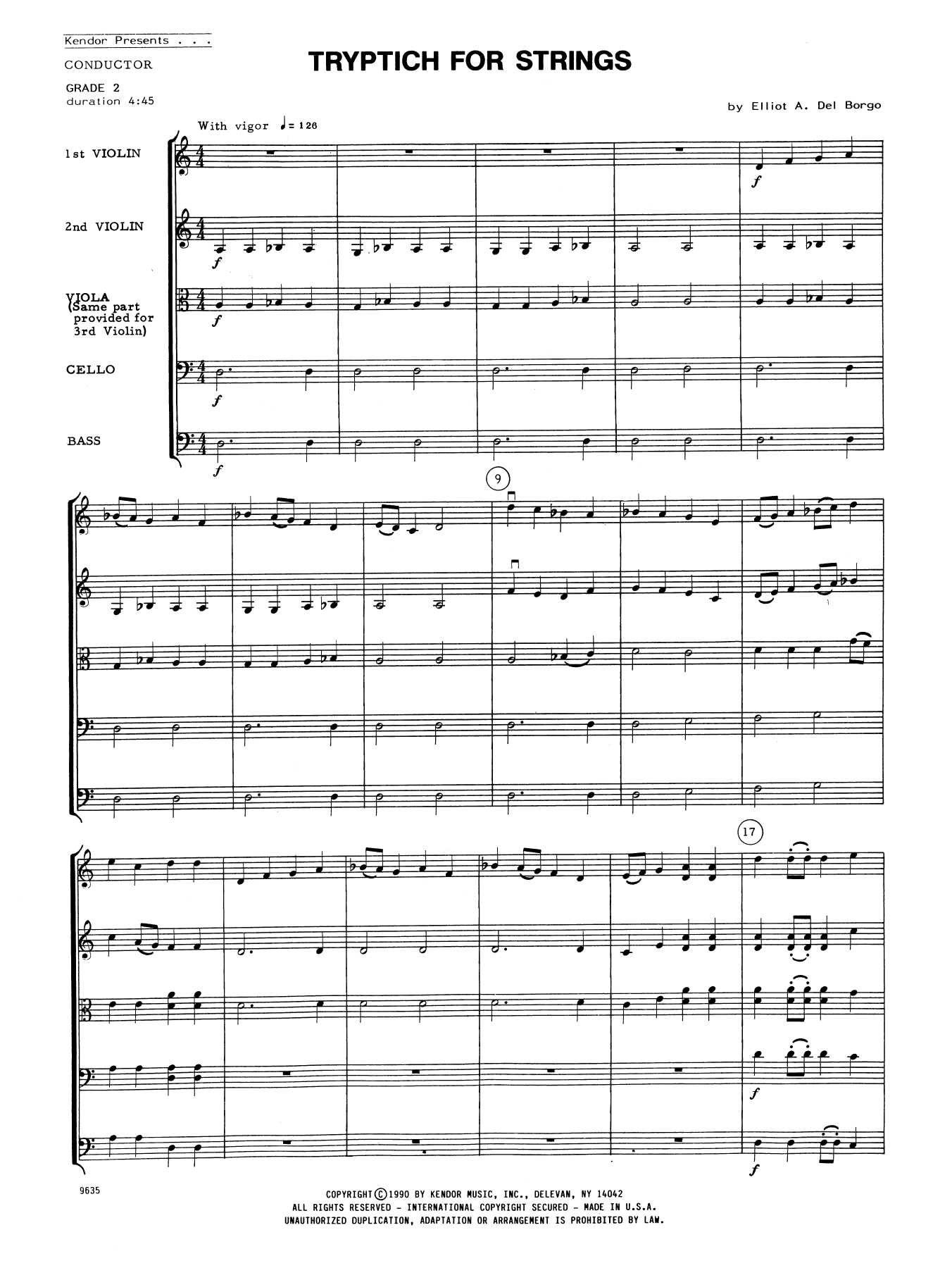Elliot A. Del Borgo Tryptich For Strings - Full Score sheet music notes and chords. Download Printable PDF.
