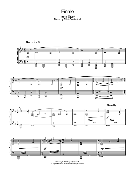 Elliot Goldenthal Finale (from Titus) sheet music notes and chords. Download Printable PDF.