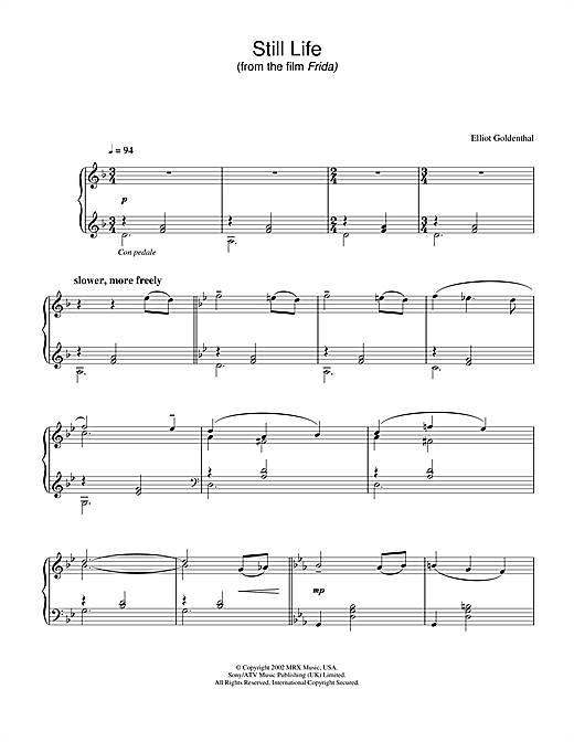 Elliot Goldenthal Still Life (from Frida) sheet music notes and chords