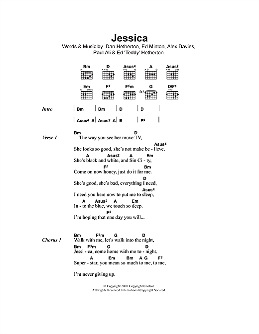 Elliot Minor Jessica sheet music notes and chords. Download Printable PDF.