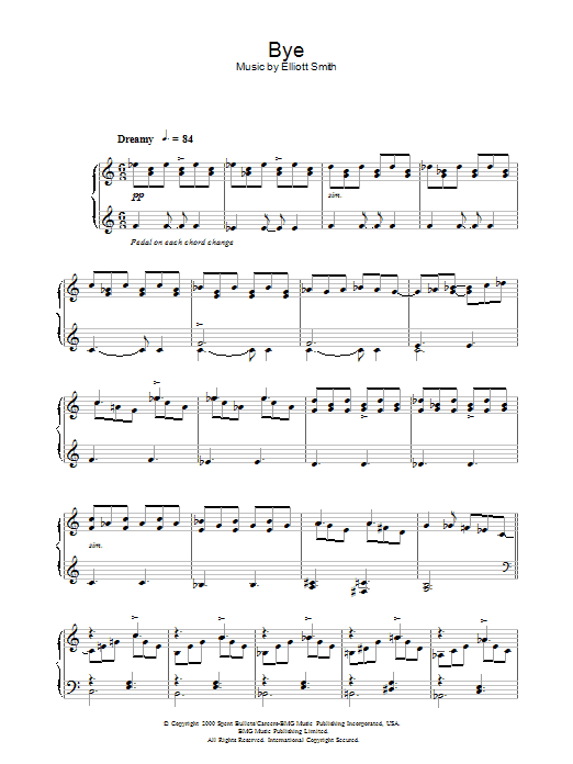 Elliott Smith Bye sheet music notes and chords. Download Printable PDF.