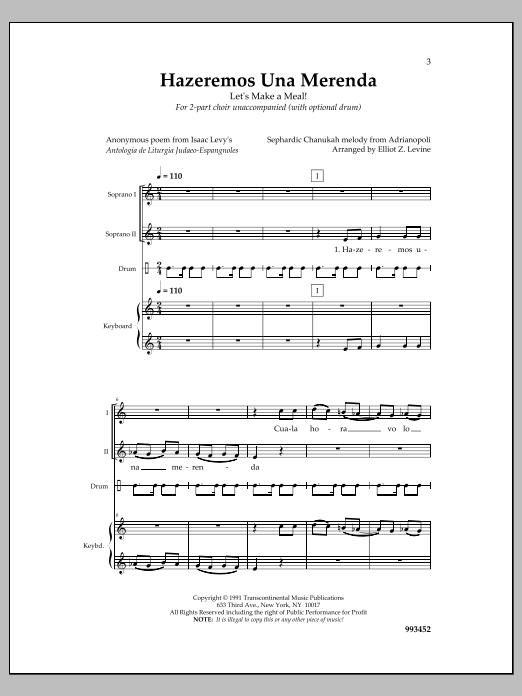 Elliot Z. Levine Hazeremos Una Merenda sheet music notes and chords. Download Printable PDF.
