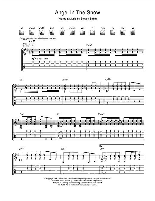 Elliott Smith Angel In The Snow Sheet Music Notes Chords
