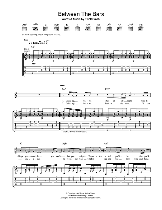 Elliott Smith Between The Bars Sheet Music Notes Chords