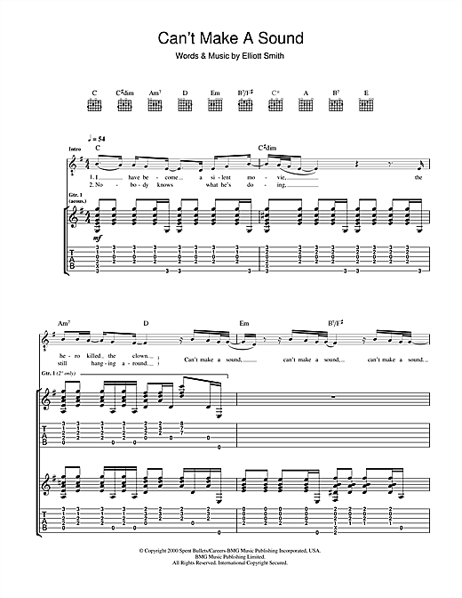 Elliott Smith Can't Make A Sound sheet music notes and chords. Download Printable PDF.