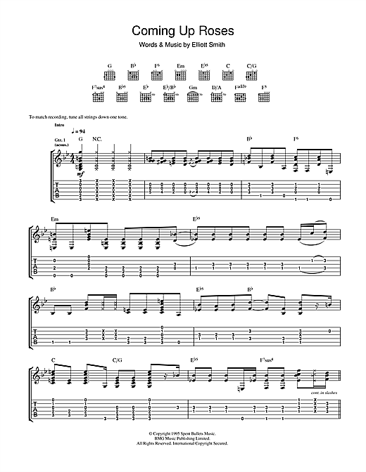 Elliott Smith Coming Up Roses sheet music notes and chords. Download Printable PDF.