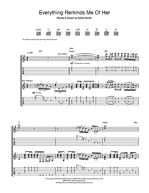 Elliott Smith Everything Reminds Me Of Her sheet music notes and chords. Download Printable PDF.