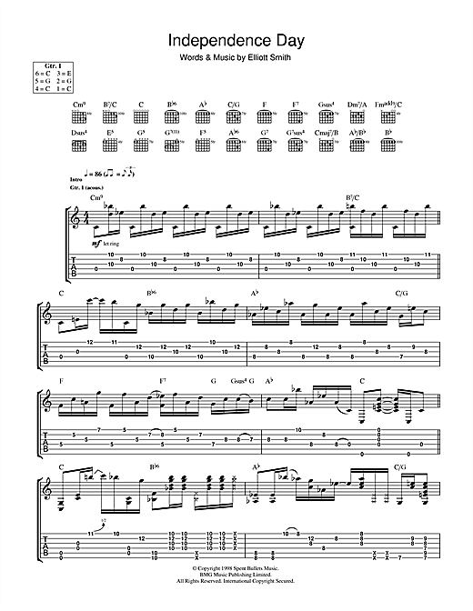 Elliott Smith Independence Day Sheet Music Notes Chords