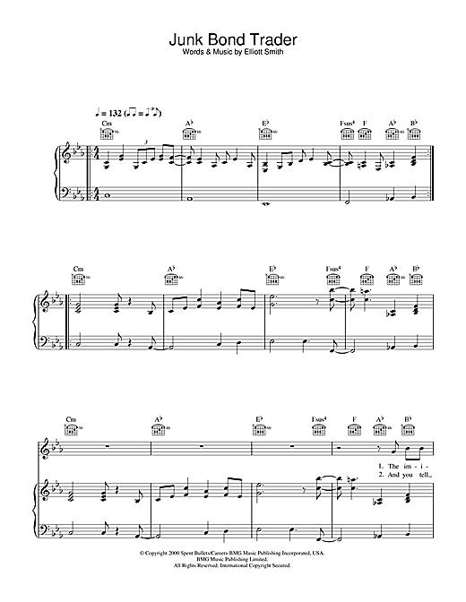 Elliott Smith Junk Bond Trader Sheet Music Notes Chords