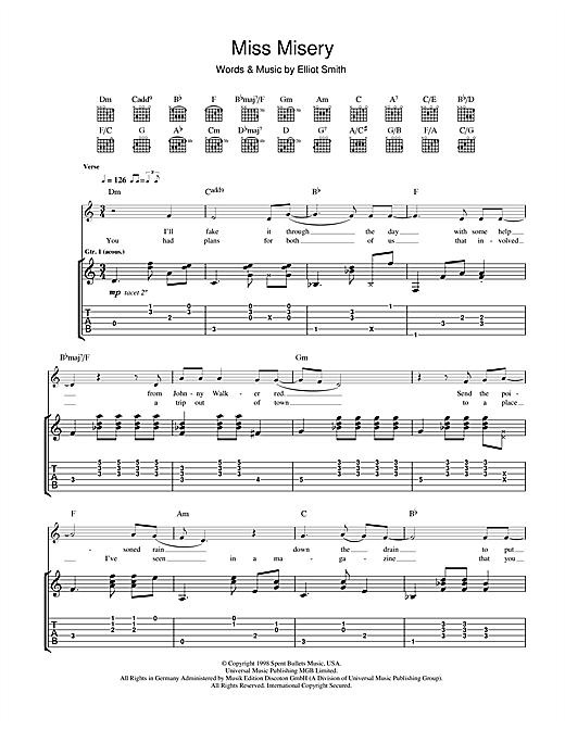 Elliott Smith Miss Misery Sheet Music Notes Chords Printable