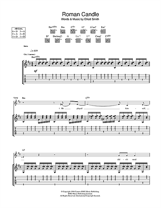 Elliott Smith Roman Candle sheet music notes and chords. Download Printable PDF.