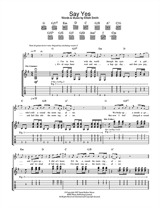 Elliott Smith Say Yes sheet music notes and chords. Download Printable PDF.