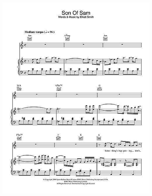 Elliott Smith Son Of Sam sheet music notes and chords. Download Printable PDF.
