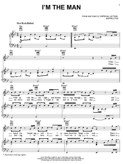 Elliott Yamin I'm The Man sheet music notes and chords. Download Printable PDF.