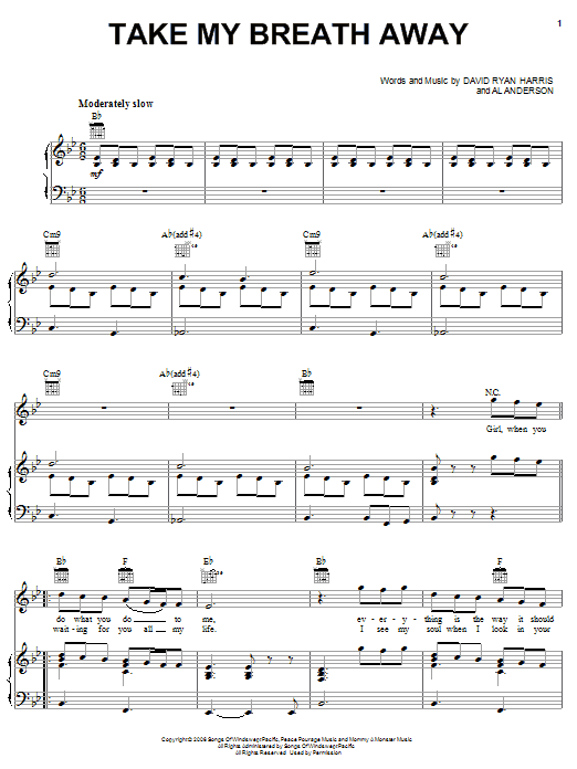 Elliott Yamin Take My Breath Away sheet music notes and chords. Download Printable PDF.