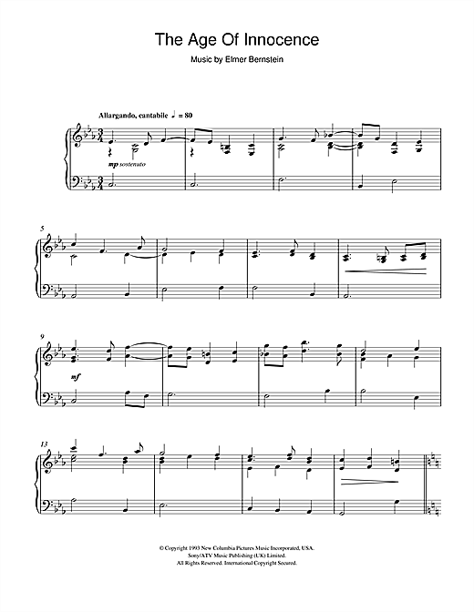 Elmer Bernstein Age Of Innocence (End Credits) sheet music notes and chords. Download Printable PDF.