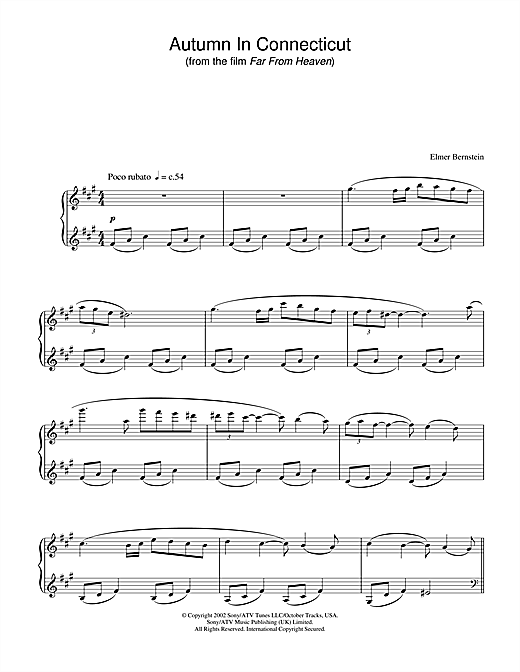 Elmer Bernstein Autumn In Connecticut (from 'Far from Heaven') sheet music notes and chords. Download Printable PDF.