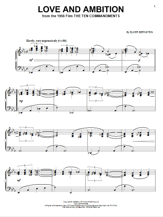 Elmer Bernstein Love And Ambition sheet music notes and chords. Download Printable PDF.