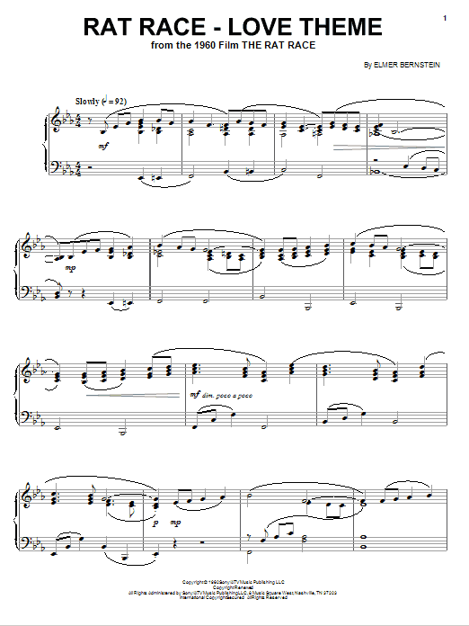 Elmer Bernstein Rat Race - Love Theme sheet music notes and chords