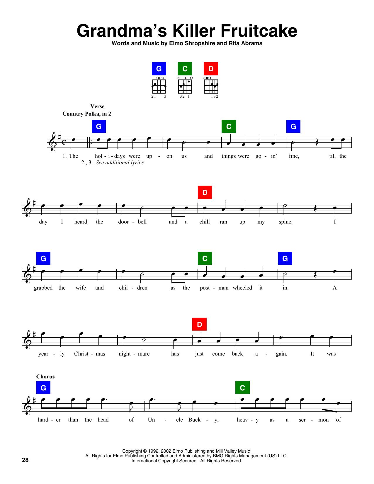Elmo Shropshire Grandma's Killer Fruitcake sheet music notes and chords